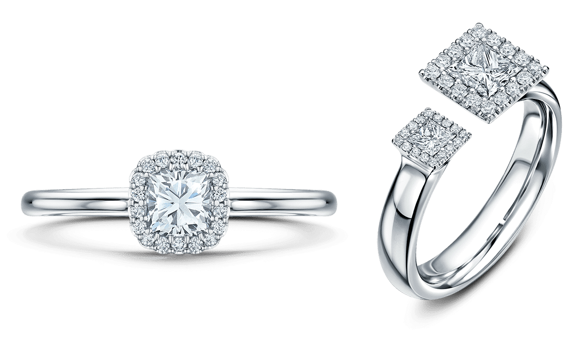 cushion cut & princess cut engagement rings